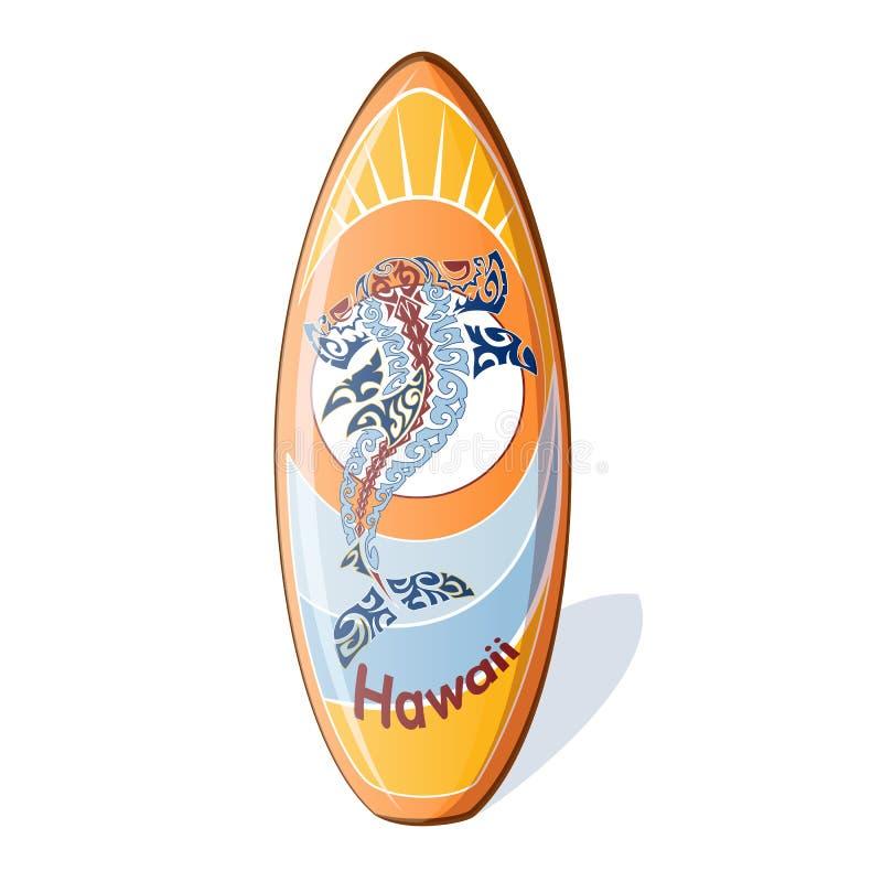 Surf con un modello hawaiano nazionale dallo squalo martello, onde stilizzate, il sole illustrazione di stock
