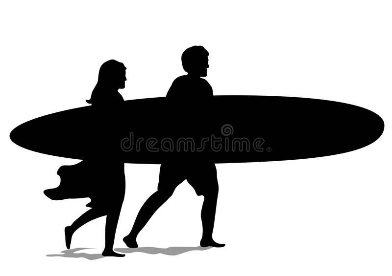 Surf Couple Silhouette royalty free illustration
