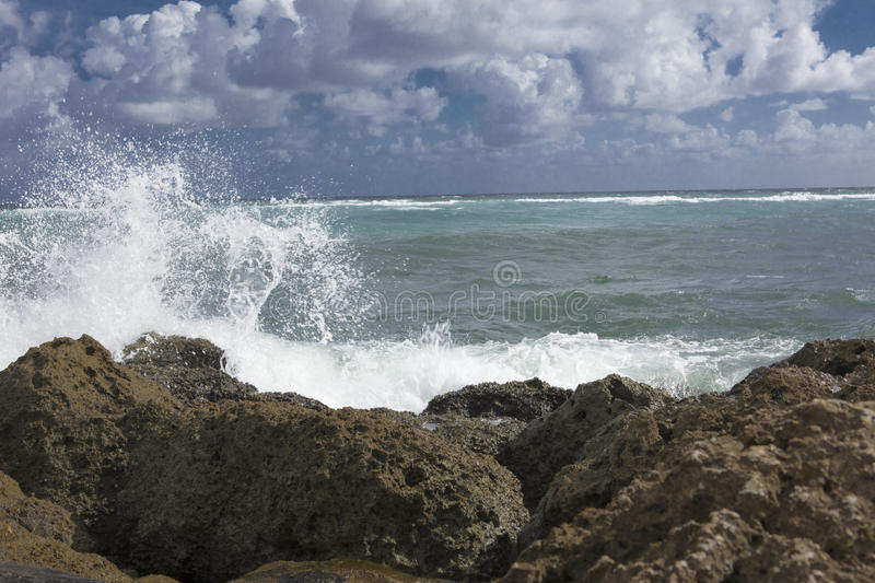 Surf Crashing on Sea Wall South Inlet Park stock photos