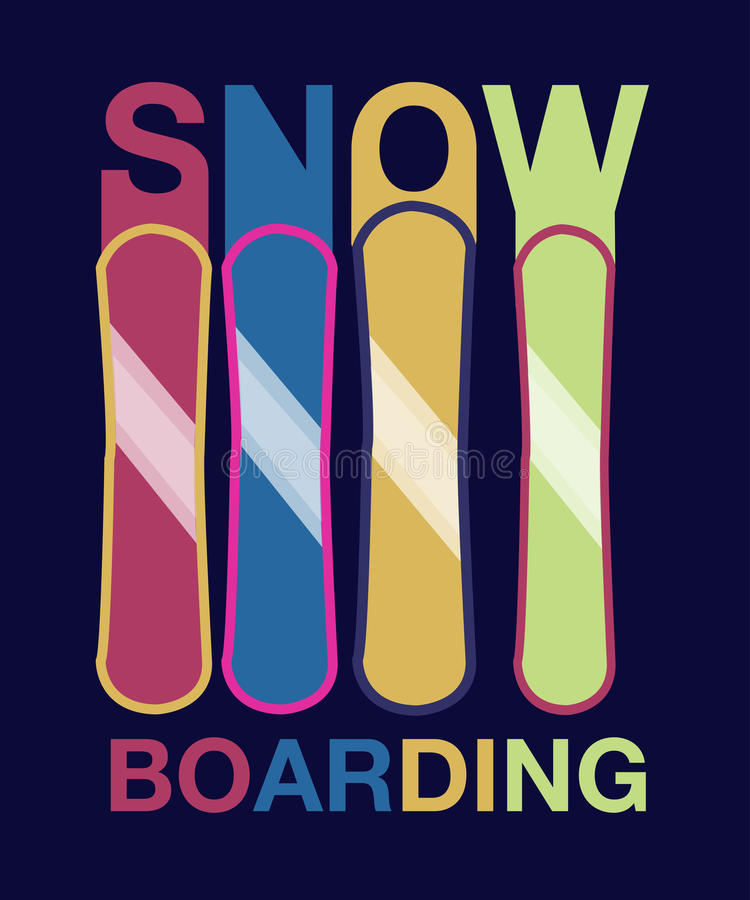 Surf des neiges - affiche de typographie de vecteur de sport dessinée par main illustration de vecteur