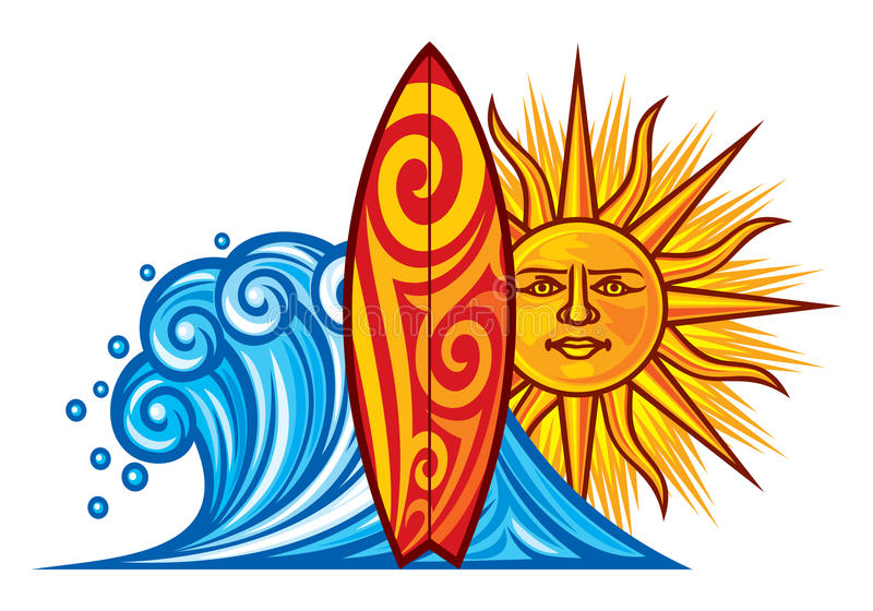 Surf design. Surf board illustration, surfboard symbol, surfboard label, surf sign stock illustration
