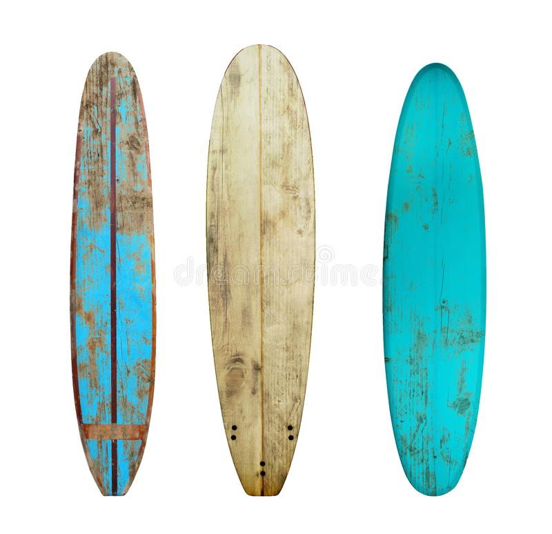 Surf di legno d'annata isolato su bianco con immagini stock libere da diritti