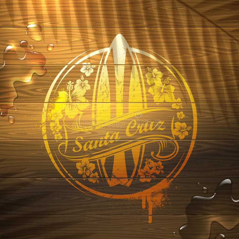 Download Surf Emblem On Wooden Surface Royalty Free Stock Photography - Image: 29613387
