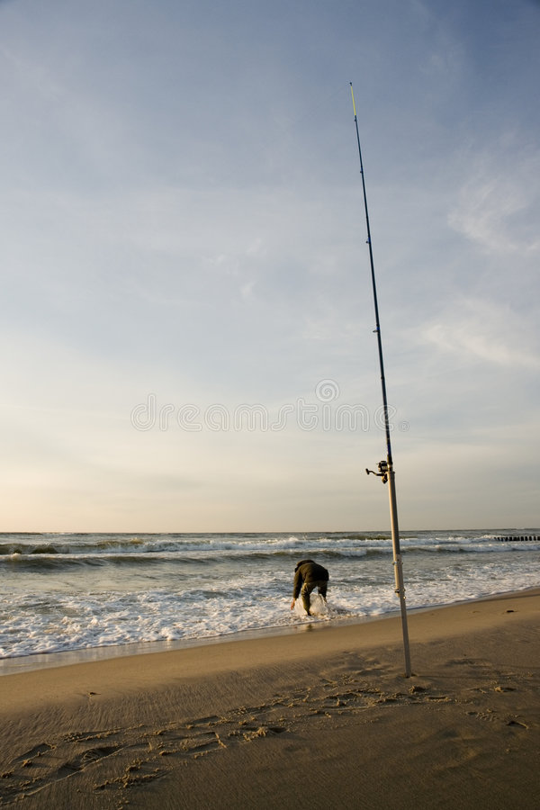 Surf fishing stock images
