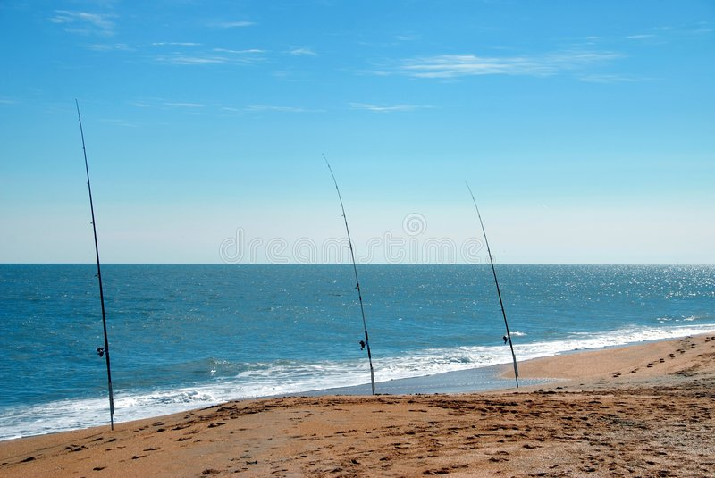 Surf fishing poles royalty free stock image