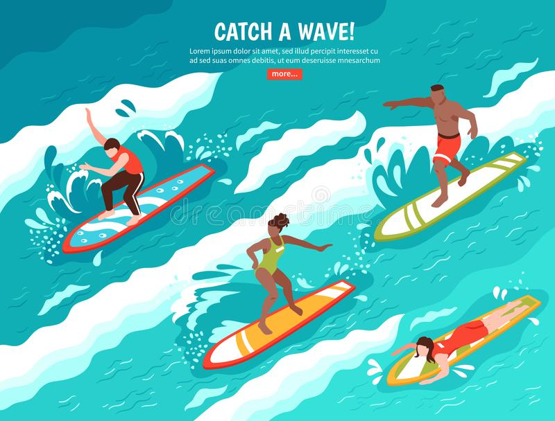 Catch Wave Surfing Concept stock illustration