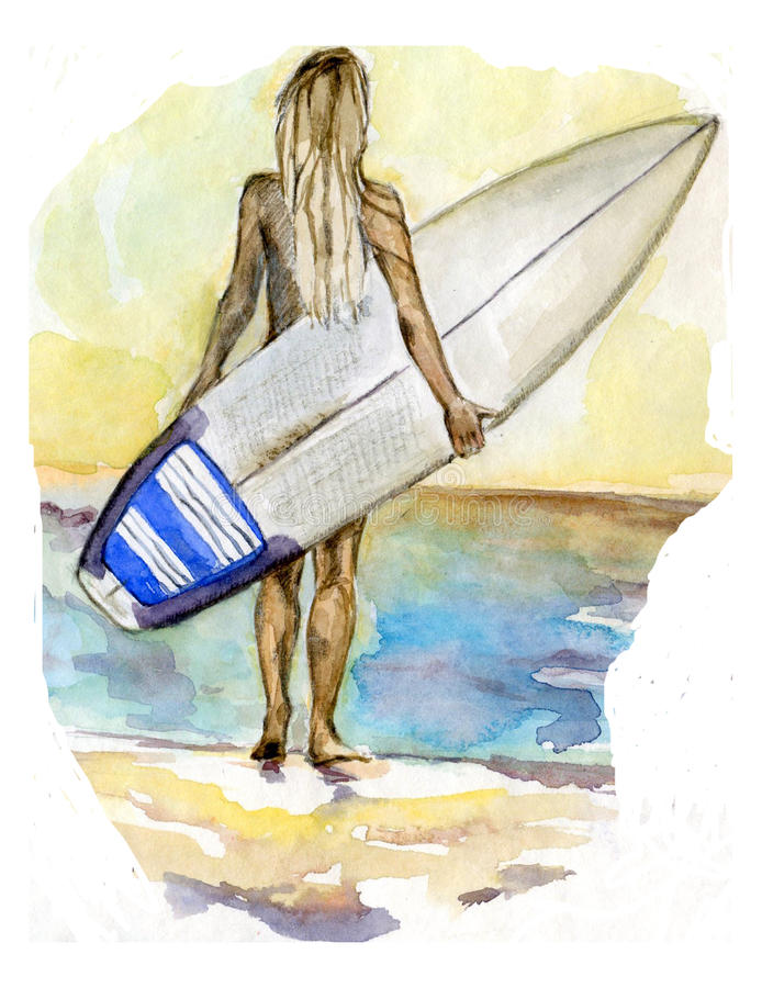 Surf girl in the sea. Hand drawn watercolor illustration royalty free illustration