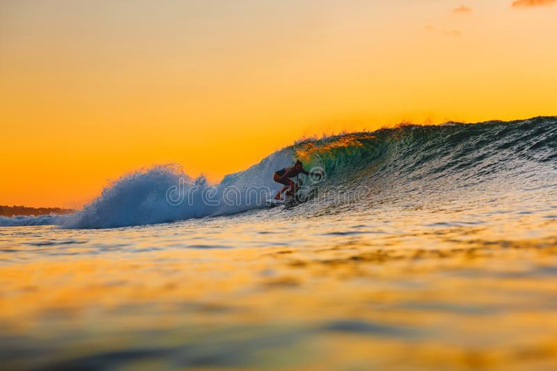 Surf girl on surfboard at sunset. Woman in ocean during surfing. Surfer and wave. Surf girl on surfboard at sunset. Woman in ocean during surfing stock photo