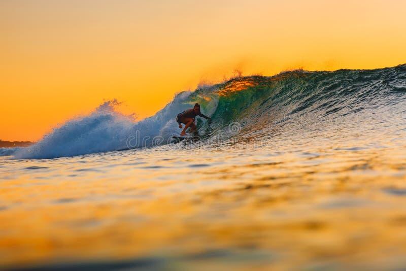 Surf girl on surfboard at warm sunset. Woman ride on barrel wave, sunset surfing. Surf girl on surfboard at warm sunset. Woman ride on barrel wave stock photo