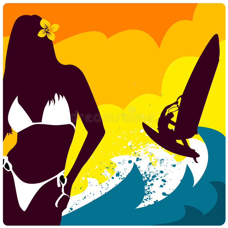 Surf and girl vector. Abstract summer concept illustration vector