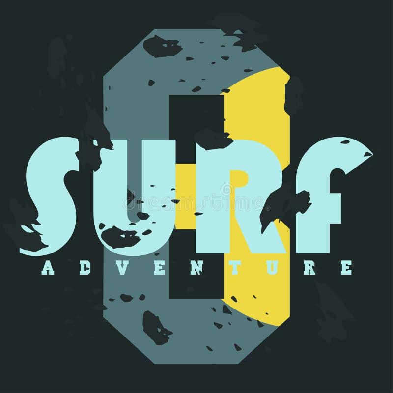 surf Gráficos do t-shirt Tipografia do vintage, gráficos do t-shirt, cartaz, bandeira, matéria têxtil, fato ilustração do vetor