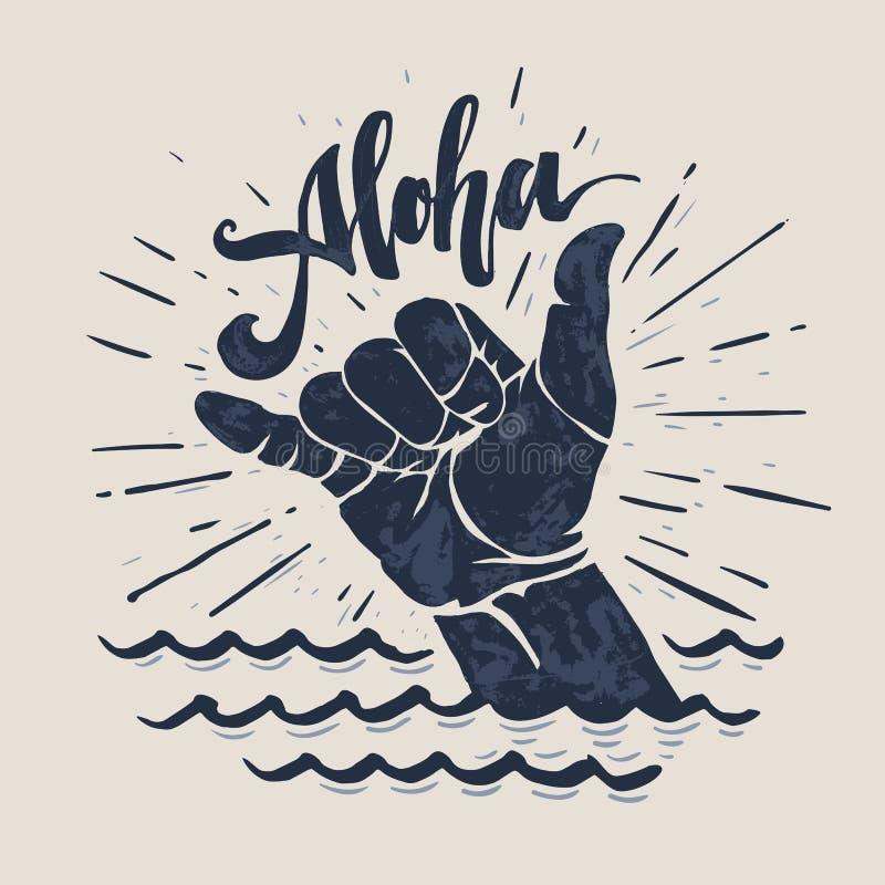 Surf hand sign. Aloha - lettering surfing print. shaka hand sign, grunge t-shirt print stock illustration