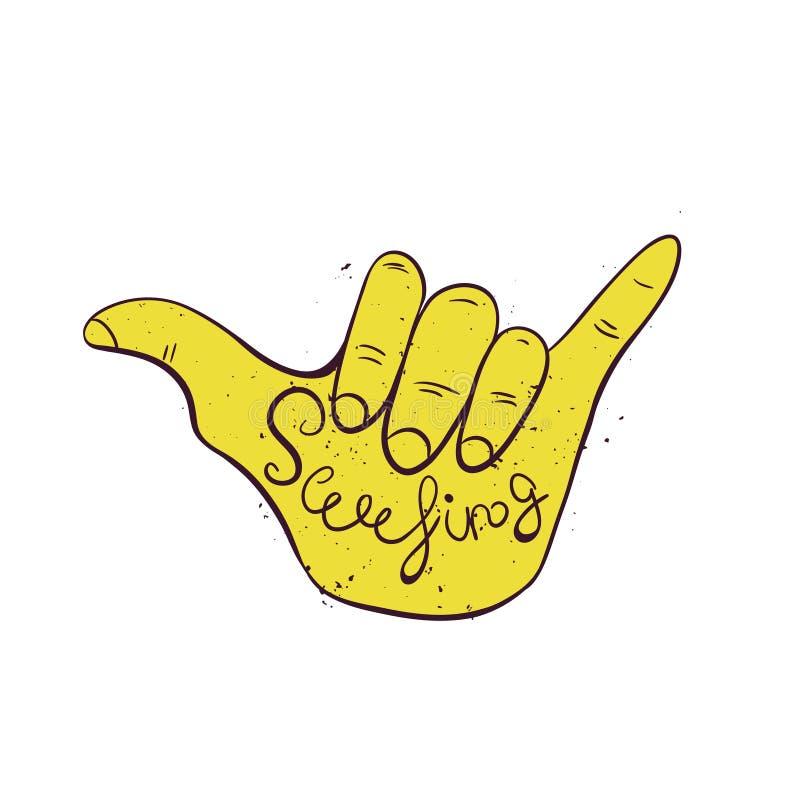 Surf hand sign. Hang loose surfers gesture. Vector Illustration stock illustration
