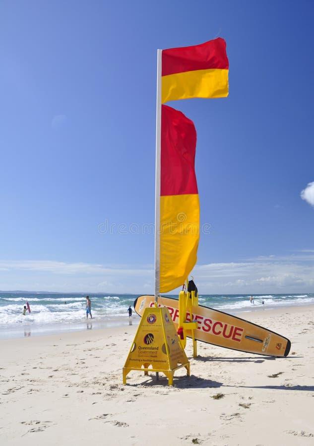 Surf life savers. Set up on Woorim beach on Bribie Island, Queensland, Australia royalty free stock image