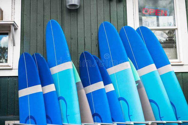 Surf and paddle boards rental service in Hawaii tropical island against blue sky. stock photo