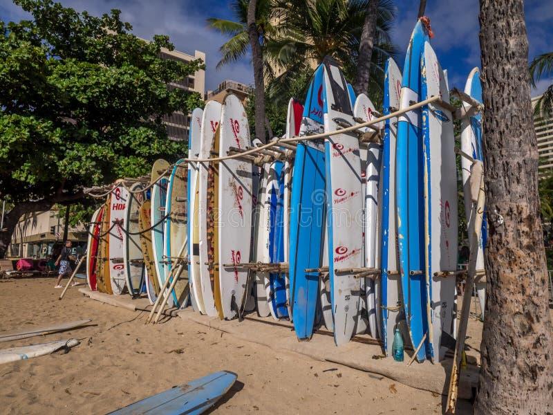 Surf rental shop on Waikiki beach royalty free stock photo