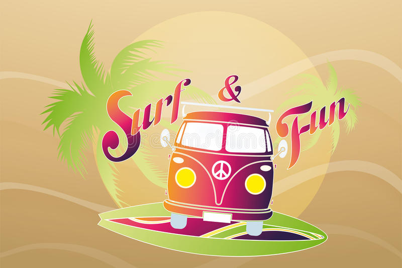 Surf retro travel van. Vector illustration of surf retro travel van - available as jpg and eps file vector illustration