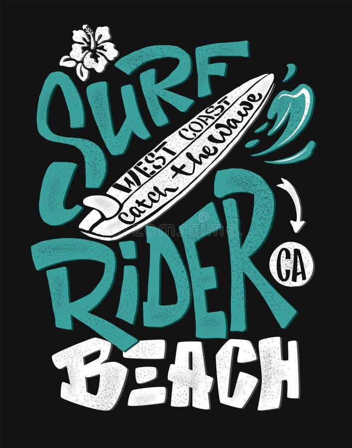 Surf rider print. t-shirt graphic design. Vector illustration stock illustration