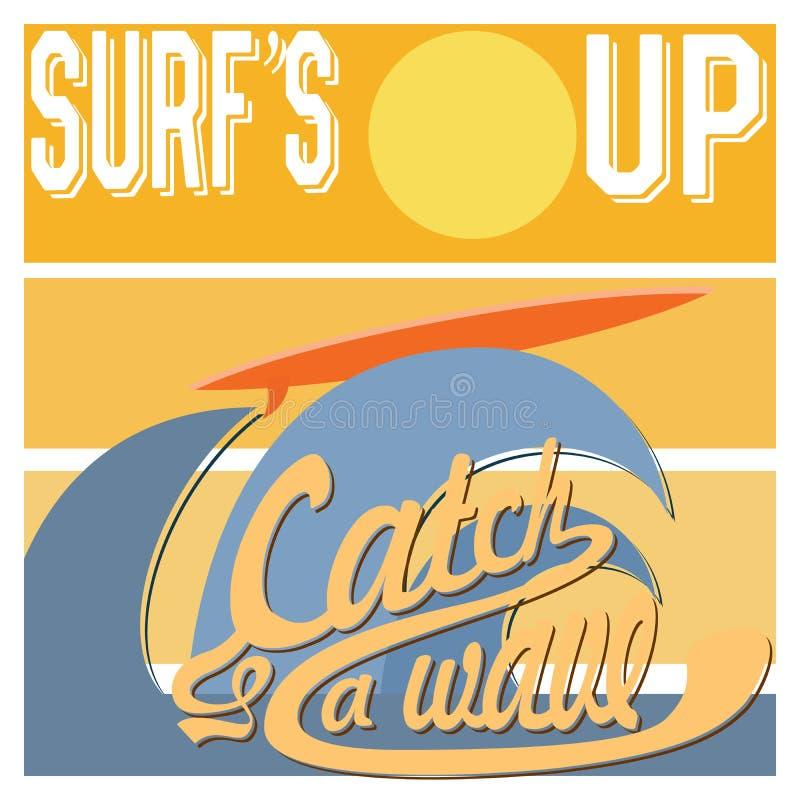 Surf's Up typography, t-shirt Printing design graphics, retro vintage vector poster, Badge Applique Label.  stock illustration