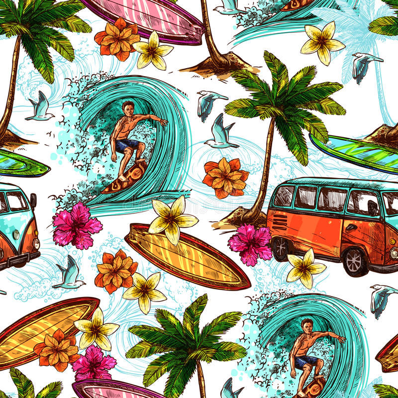 Surf Seamless Pattern. With sketch surfer and tropical beach elements vector illustration royalty free illustration
