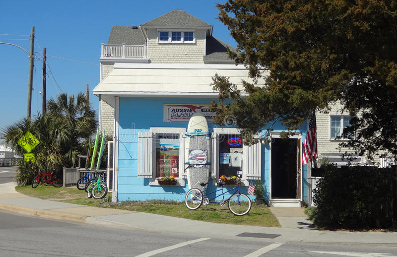Surf Shop in Wrightsville Beach | Wilmington, NC. A corner surf shop down the street from Wrightsville Beach, outside of Wilmington, North Carolina stock photography