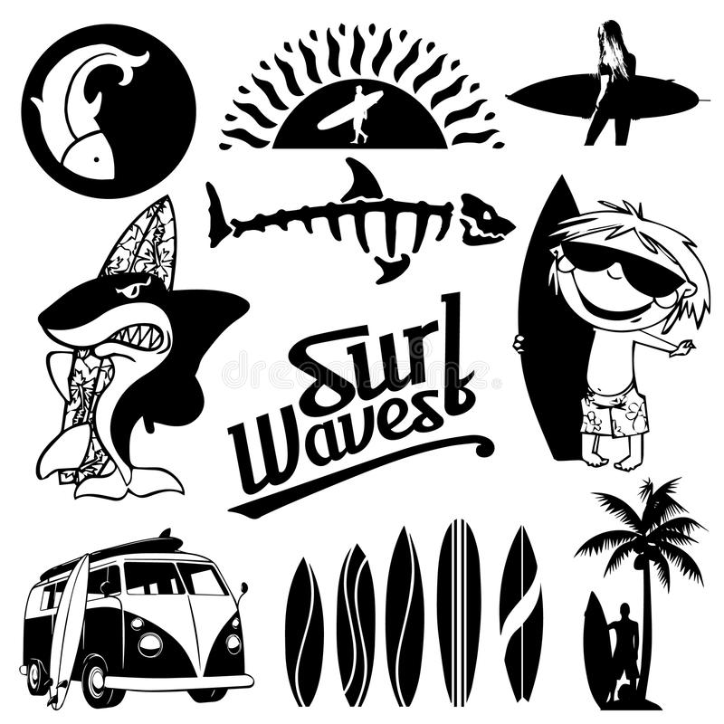 Surf Silhouette Collection 1 royalty free stock photo