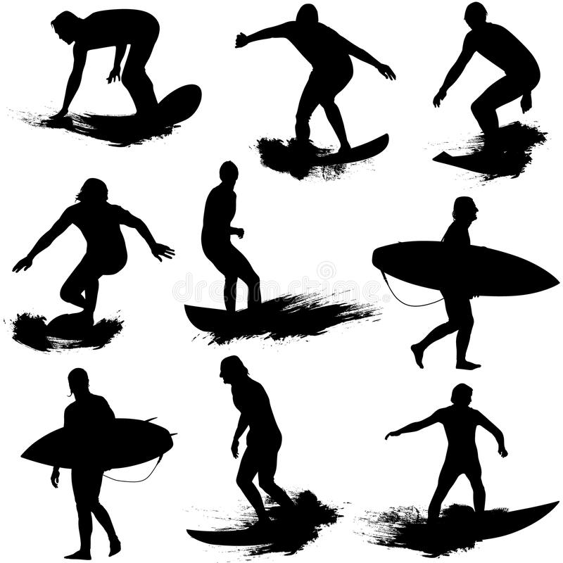 Download Surf Silhouettes stock vector. Illustration of sports - 20800908