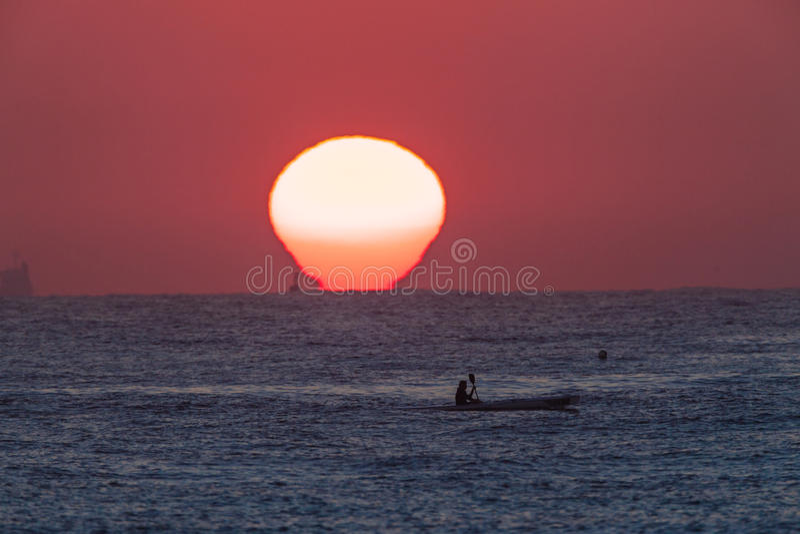 Download Surf-Ski Paddler Sunrise Ocean Editorial Photography - Image: 31099657