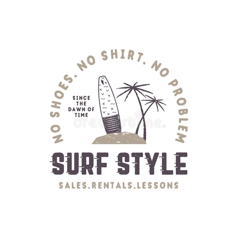 Surf style vintage label. Summer surfing style emblem with surfboard, tropical palms and typography elements. Use for t stock illustration