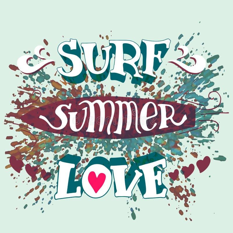 Surf summer love hand lettering vector illustration