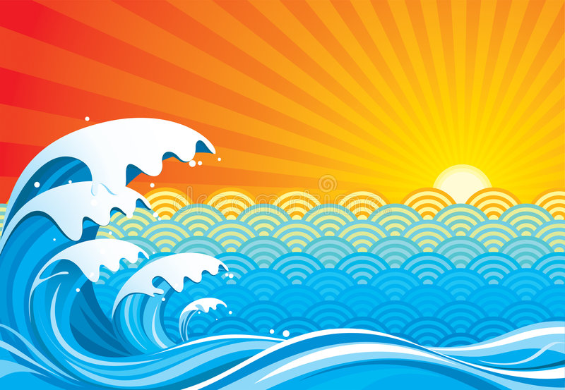 Surf and Sun. Surf sun abstract, vector illustration layers file royalty free illustration