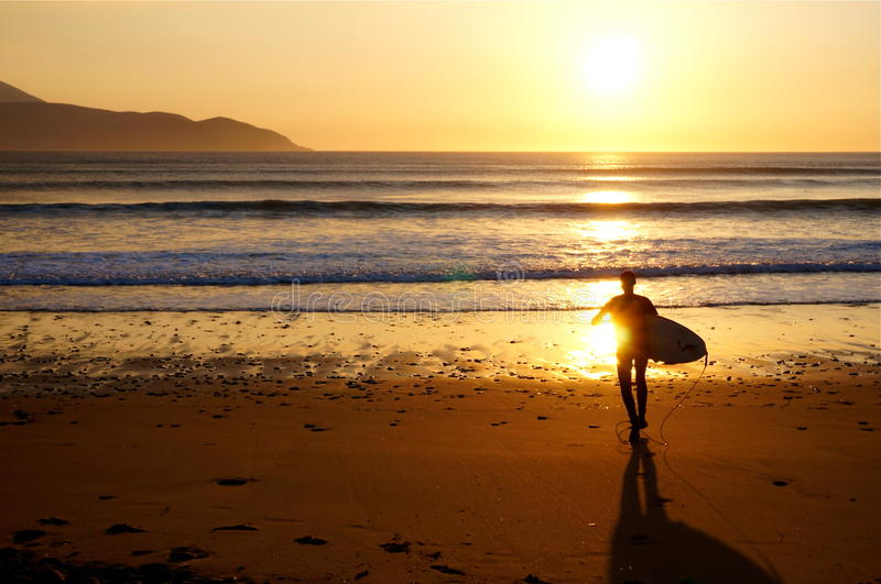 Surfer on Brandon Bay at sunset royalty free stock photo