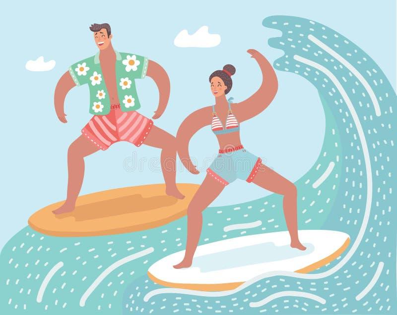 surf Surfista e onda grande ilustração royalty free