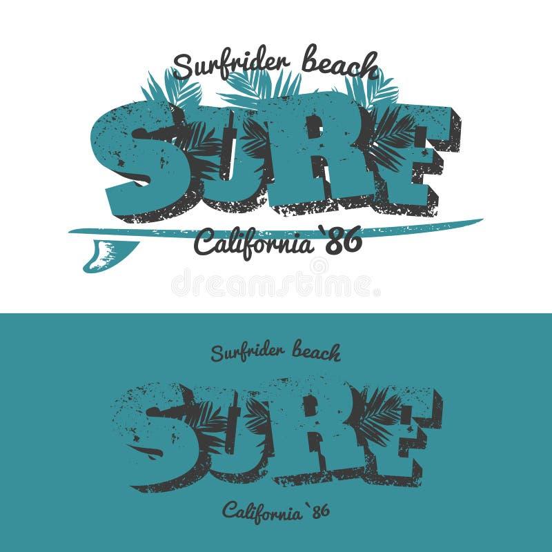 Surf t-shirt design royalty free illustration