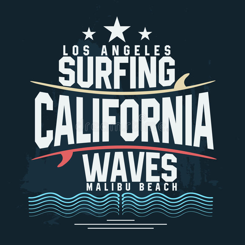 Surf t-shirt graphic design. Surfing grunge print stamp. California, Los Angeles surfers wear typography emblem. Vector stock illustration