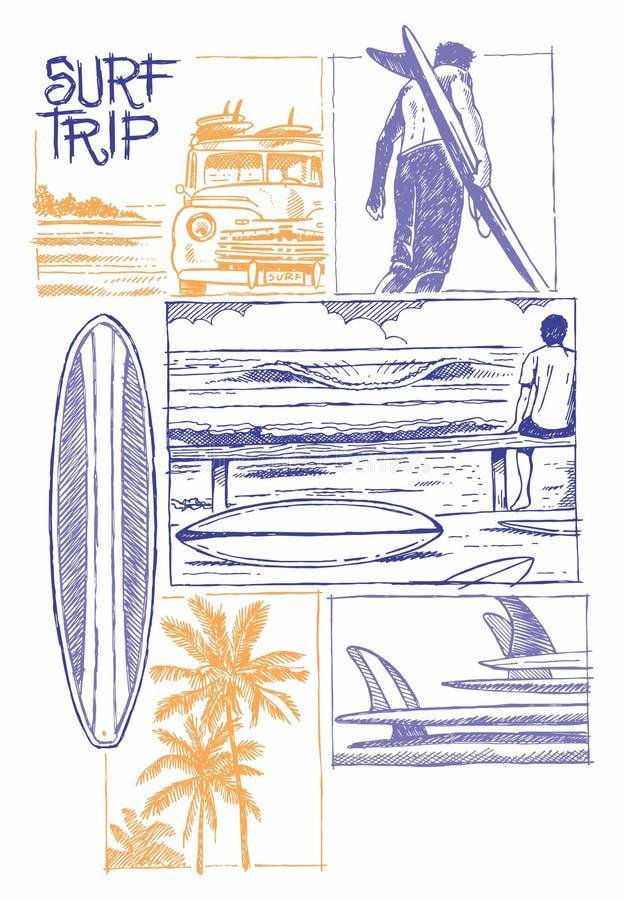 Surf trip. Surf way of life illustration royalty free illustration