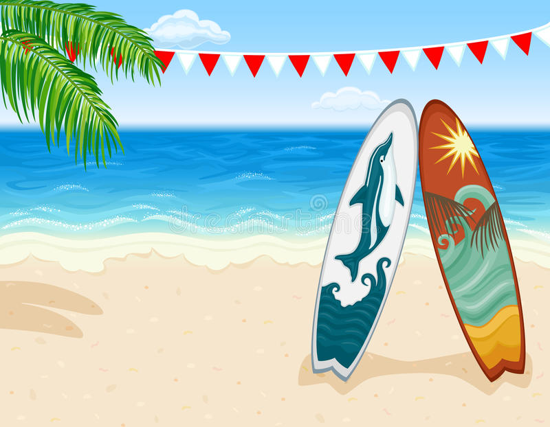 Surf at tropical beach. Vacation in paradise - surfing at tropical beach. Vector file saved as EPS AI8, all elements layered, grouped, simple linear gradients stock illustration