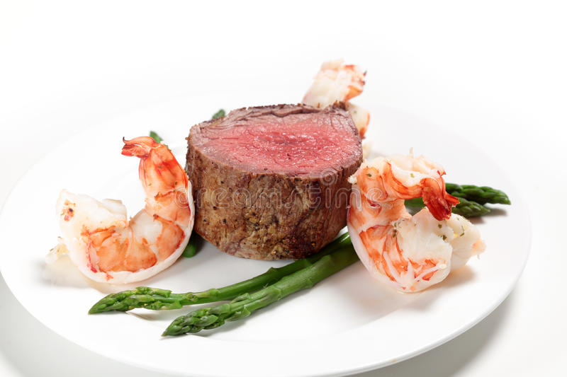 Download Surf and turf side view stock photo. Image of prawns - 28286118