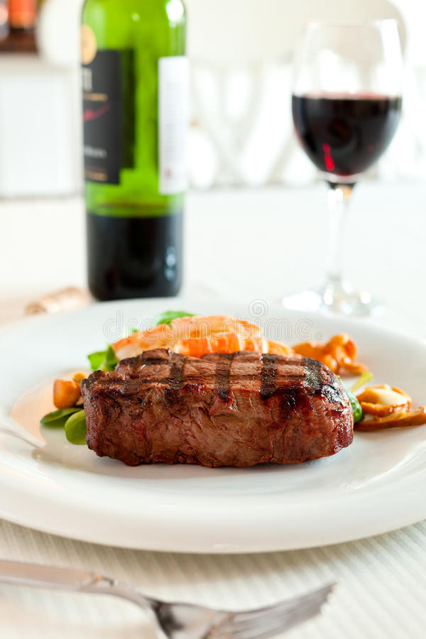 Surf And Turf With Wine Royalty Free Stock Images