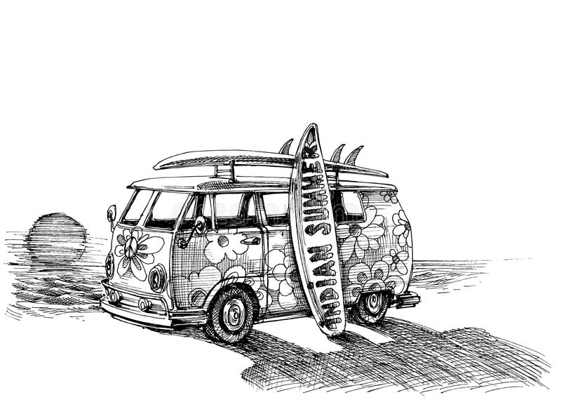Surf van on the beach. Hand drawn royalty free illustration