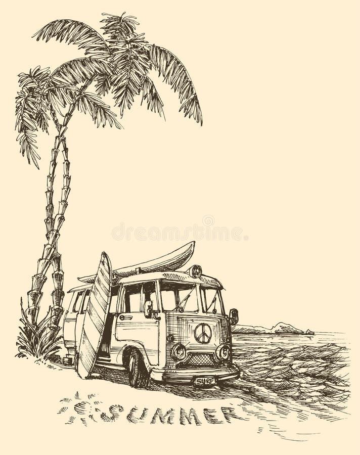 Surf van on the beach. Sketch vector illustration