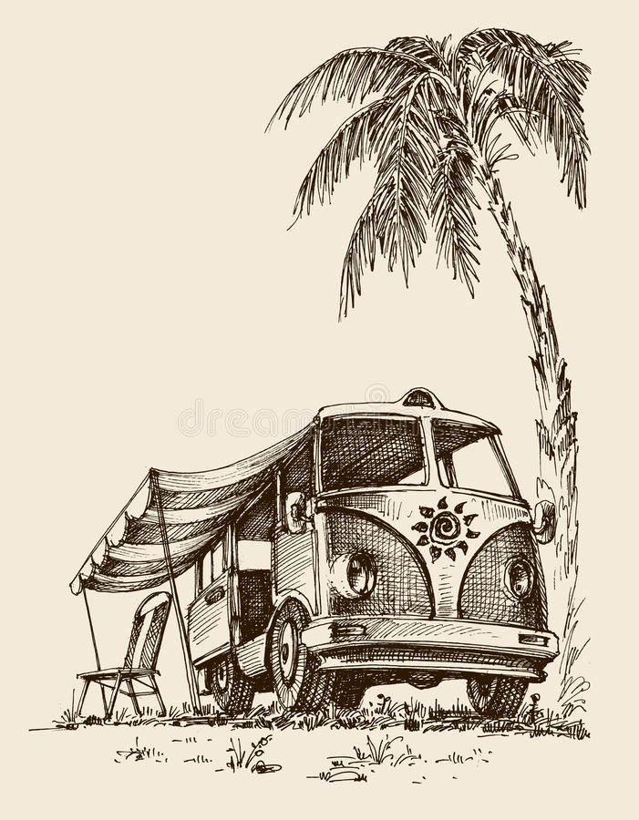 Surf van on the beach. Under the palm tree, chair and parasol vector illustration