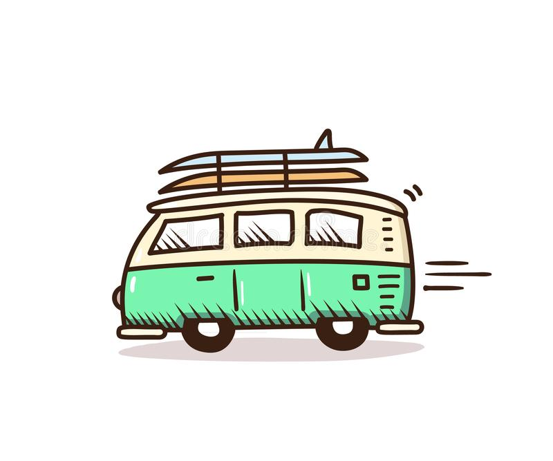Surf van driving to the beach with surfboards on. Vector summer holidays doodle illustration. Hand drawn icon. Eps10 royalty free illustration