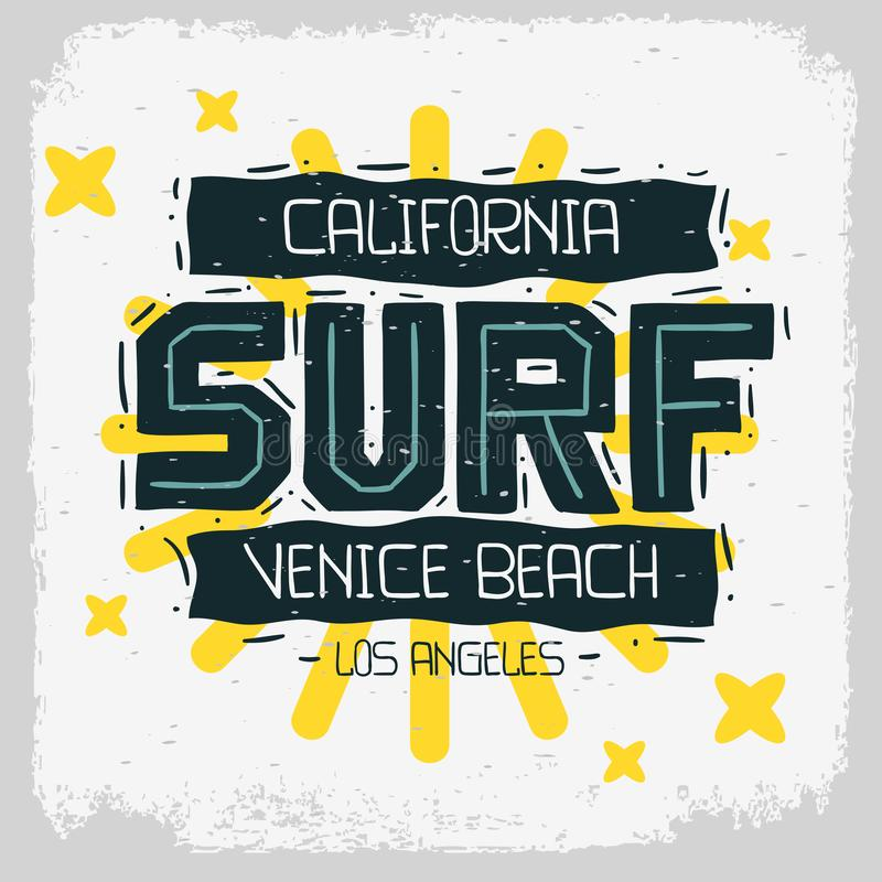 Surf Venice Beach Los Angeles California Design Hand Drawn Lettering for t shirt or sticker Vector Image royalty free illustration
