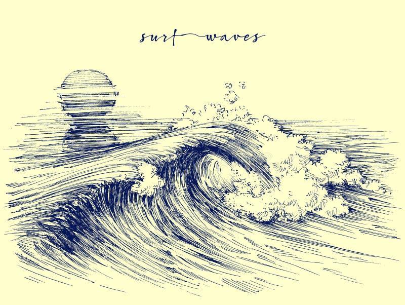 Surf waves. Sea waves graphic. Ocean wave sketch vector illustration