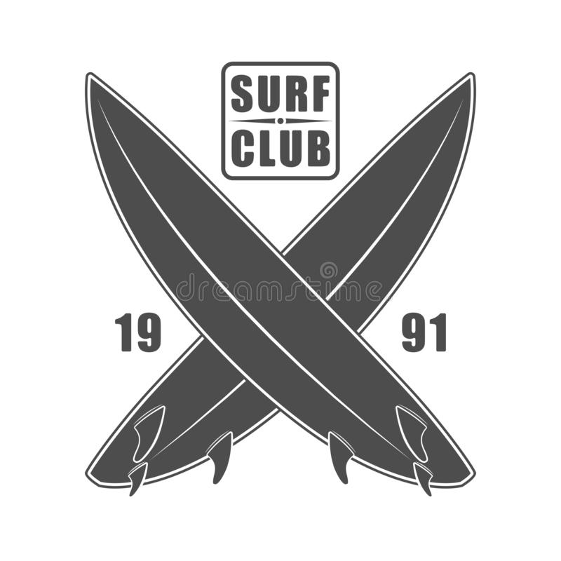 Surf wear typography emblem. Creative surfing t-shirt graphic design. California surfers print stamp in monochrome style.  stock illustration
