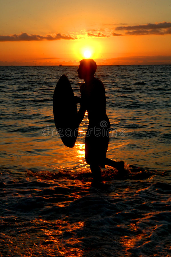 Surf zonsondergang royalty-vrije stock foto's