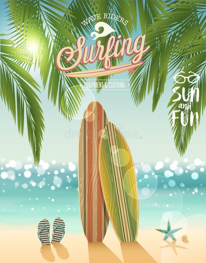 Surfa affischen med tropisk strandbakgrund vektor illustrationer