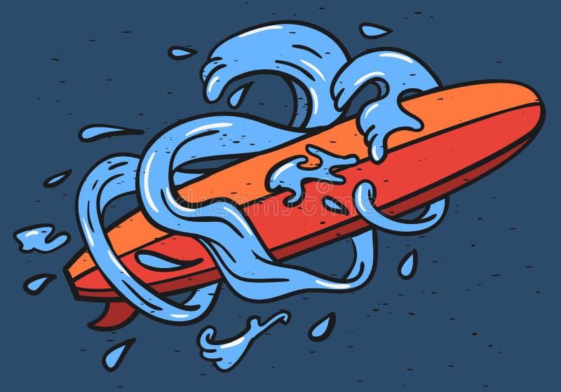 Surfa bränning Themed Longboard och stiliserade vattenvågor och droppar räcka den estetiska utdragna traditionella tatueringen fö royaltyfri illustrationer