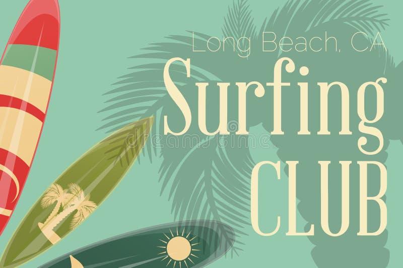 Surfa den Retro affischen stock illustrationer